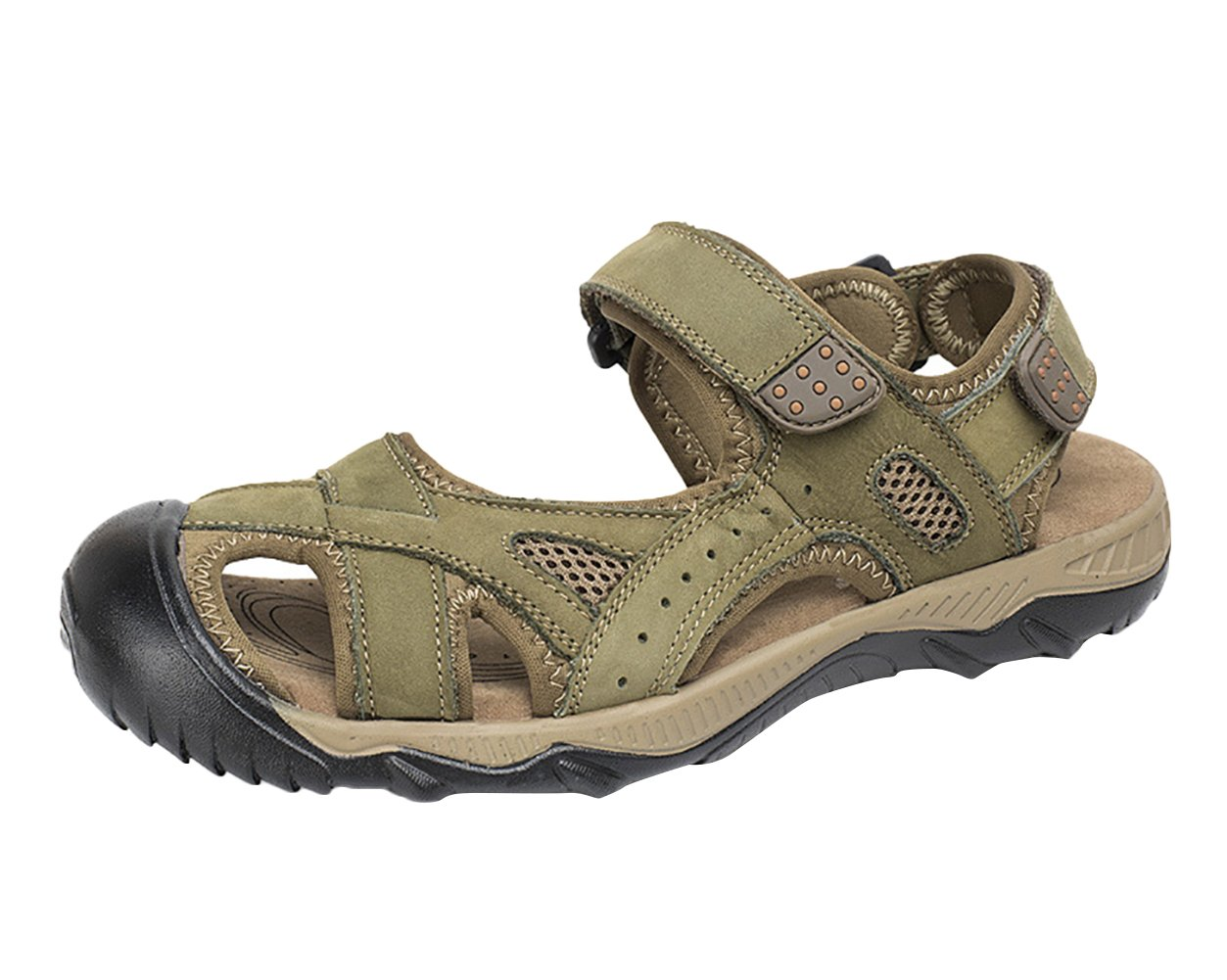 SK Studio Sandalias Hombre Montaña de Cuero Outdoor Transpirables Zapatos Con Velcro 41 EU Verde caqui