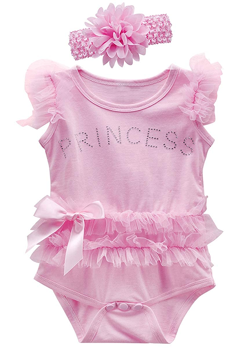 COSLAND Baby Girls Lace Tutu Dress Bodysuit with Headband