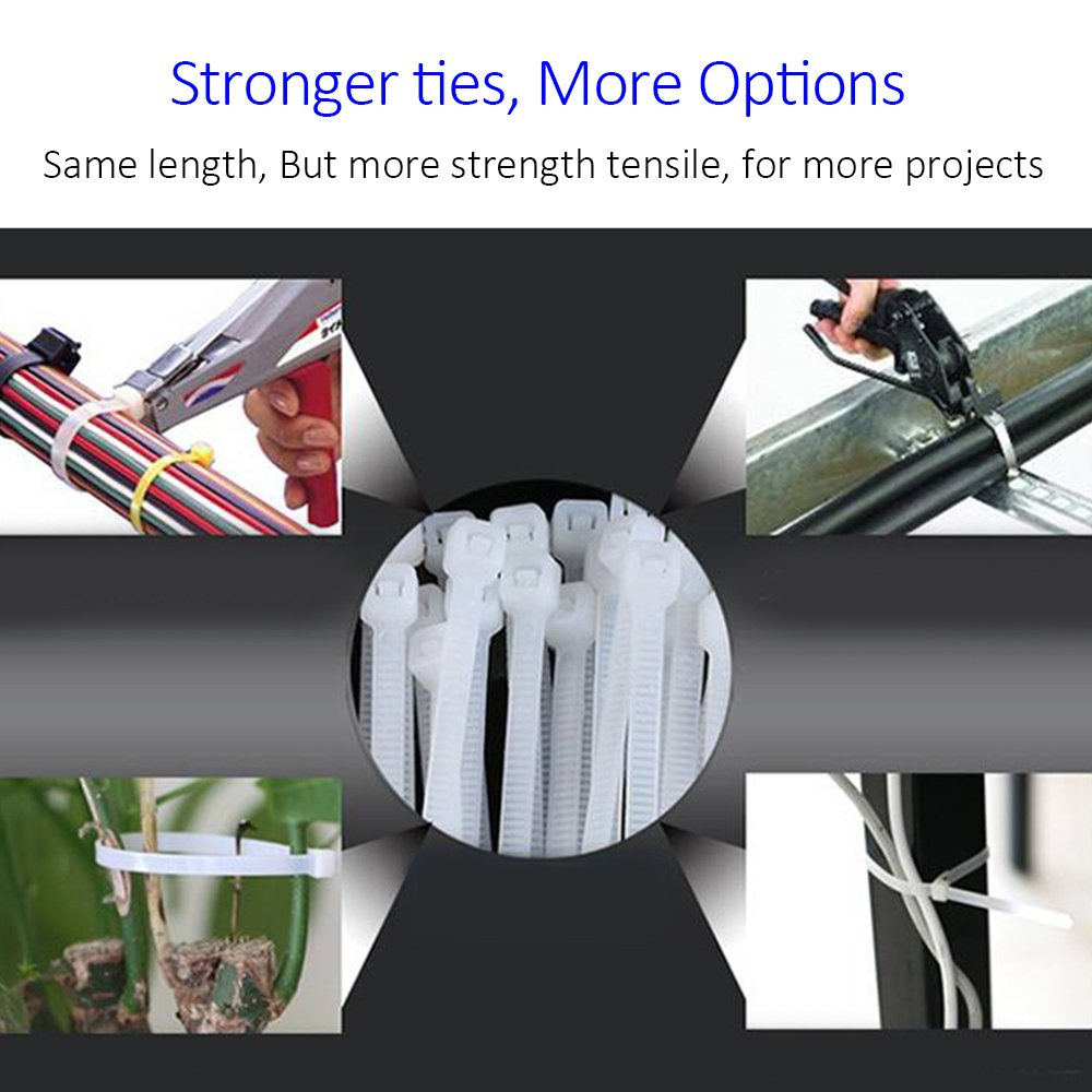 10 Inch Heavy Duty Nylon Cable Ties 100 Pounds Tensile Strength 100 Pieces Zip Ties with 0.24 Inch/6mm Width in Black By Flurhrt Indoor and Outdoor UV Resistant 4330221864