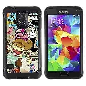Hybrid Anti-Shock Defend Case for Samsung Galaxy S5 / Cool Colorful Graffiti