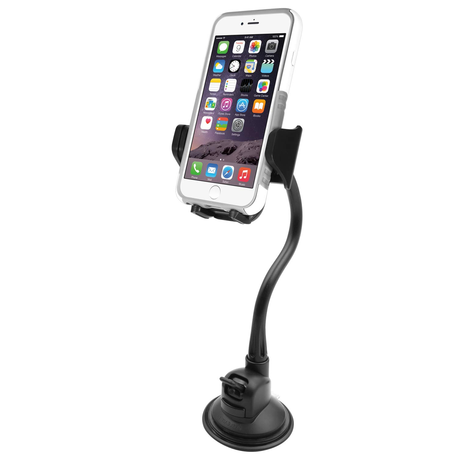 Macally Windshield Phone Mount, Adjustable Suction Cup Window Phone Mount  Holder for iPhone XS XS Max XR X 8 8 Plus 7 7+ 6s 6 SE Samsung Galaxy S9  S9+