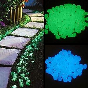 Shangjie Town 300Pcs Glow in The Dark Garden Pebbles Glow Stones Rocks for Walkways Garden Path Patio Lawn Garden Yard Decor Luminous Stones