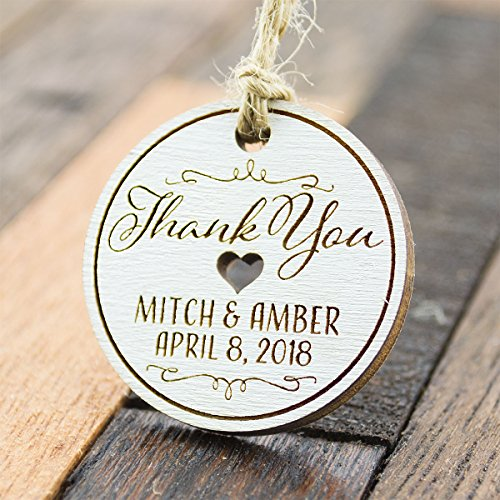 (Summer-Ray 50 Personalized Mini White Round Wooden Wedding Favor Gift Tags)