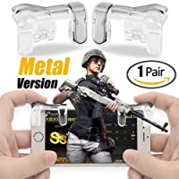 K3 PUBG Mobile Game Controller, Gamers Yard 1 Pair Sensitive Game Triggers for PUBG/Knives Out/Rules of Survival L1R1 Game Joysticks Gamepad for Android iOS Phones Transparent (Metal)