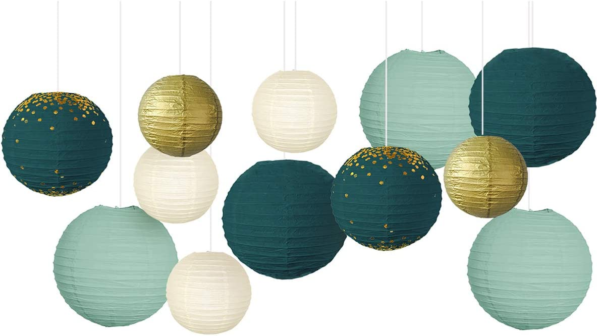 NICROLANDEE Wedding Party Decorations - 12Pcs Green Gold Hanging Paper Lanterns for Rustic Style Spring Decor Bridal Shower Baby Shower Birthday Eucalyptus Neutral Party Decor (Forest Green)