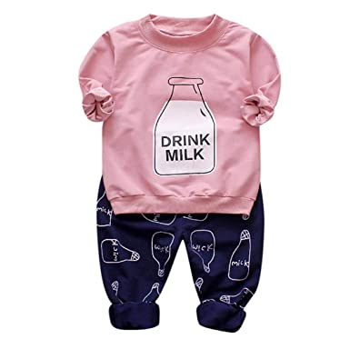 1fc33add0 HongXander Baby Outfit, Toddler Kid Girls Bottle Print Long Sleeves  Tops+Pants Girls Clothes