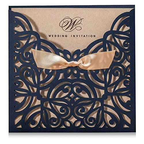 Wishmade Navy Blue Square Laser Cut Wedding Invitations Cards with Bowknot Lace Sleeve Cards Printable Kraft Paper for Engagement Birthday (pack of 50pcs) ()