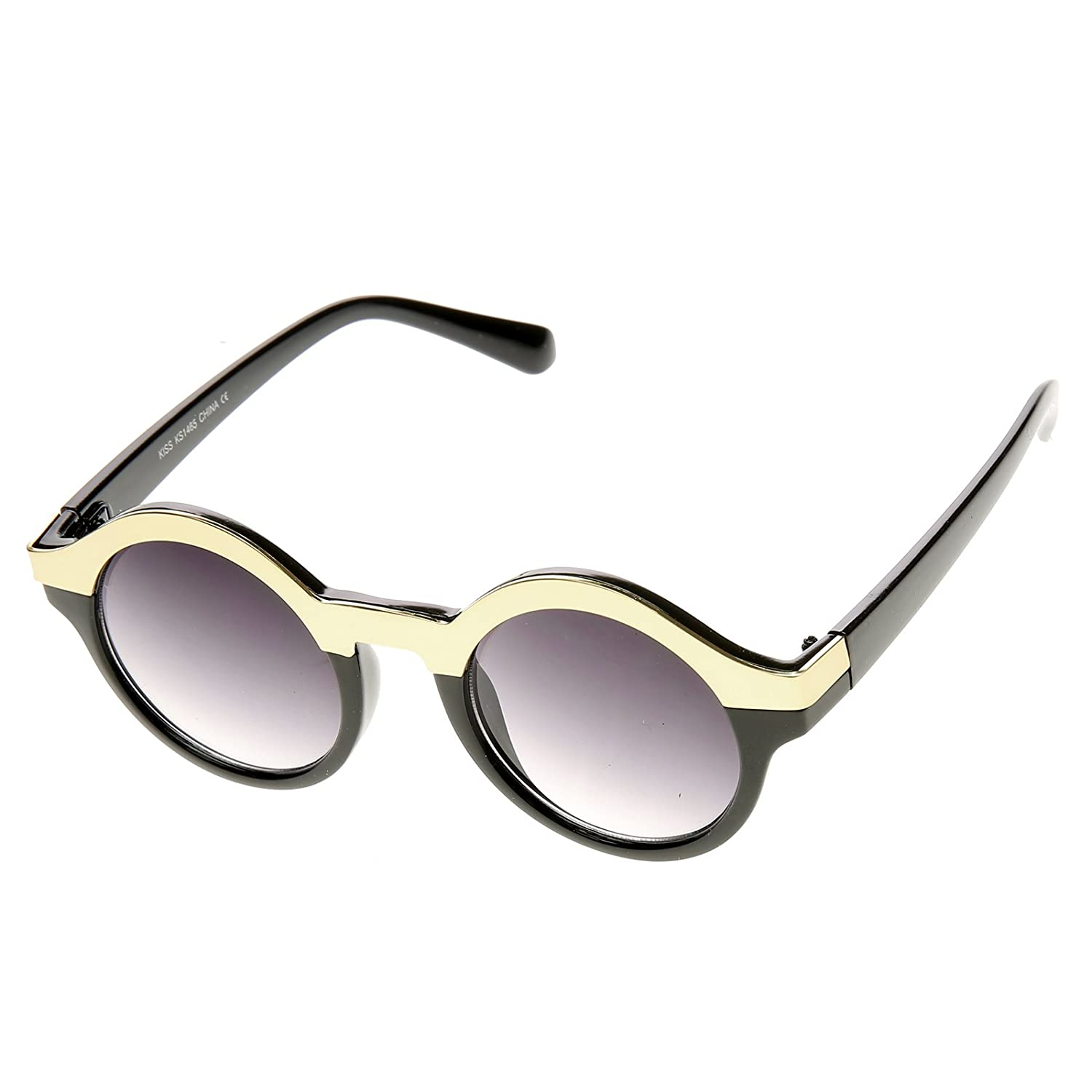 Black-Gold Vintage Inspired Retro Fashion Round Horned Circle Sunglasses
