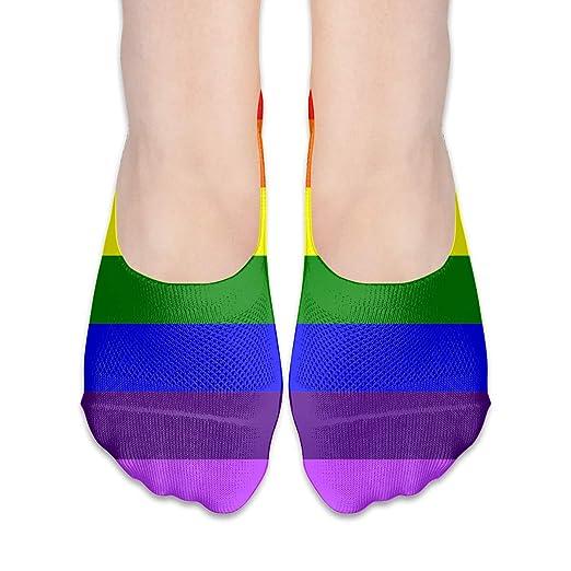 c5fc088c969a1 Amazon.com: LGBT Pride Flag Women's Boat Sock Casual Girl Low Cut ...