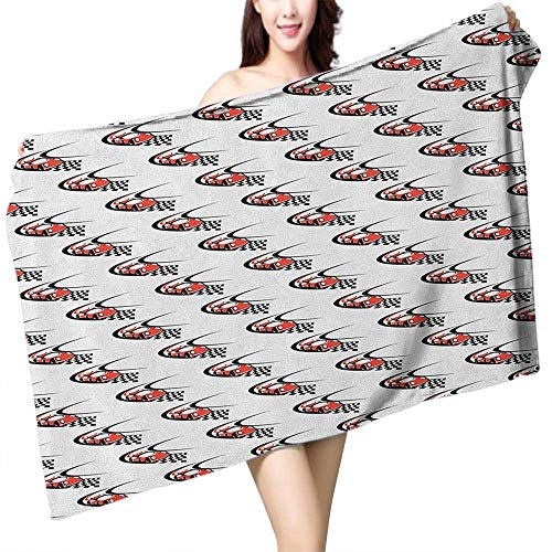 homecoco Popular Bath Towels Cars Speeding Fast Red Race Car on a Formula Rally Near The Finishing Line Wining W12 xL35 Suitable for bathrooms, Beaches, Parties