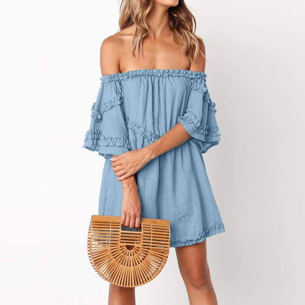 Women Off Shoulder Ruffles Short Dress Causal Pleated Loose Mini Dresses for Daily Wear Beach Holiday