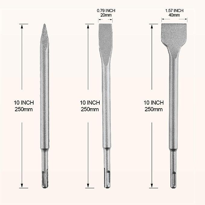 punto de cincelado 50 mm WERHE /® Juego de cinceles SDS Plus 400 mm 3 piezas 20