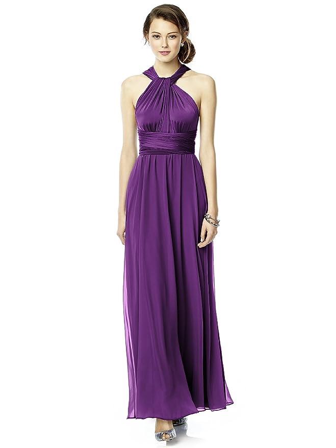Amazon.com: Women\'s Long Jersey Twist Wrap Dress with Chiffon ...