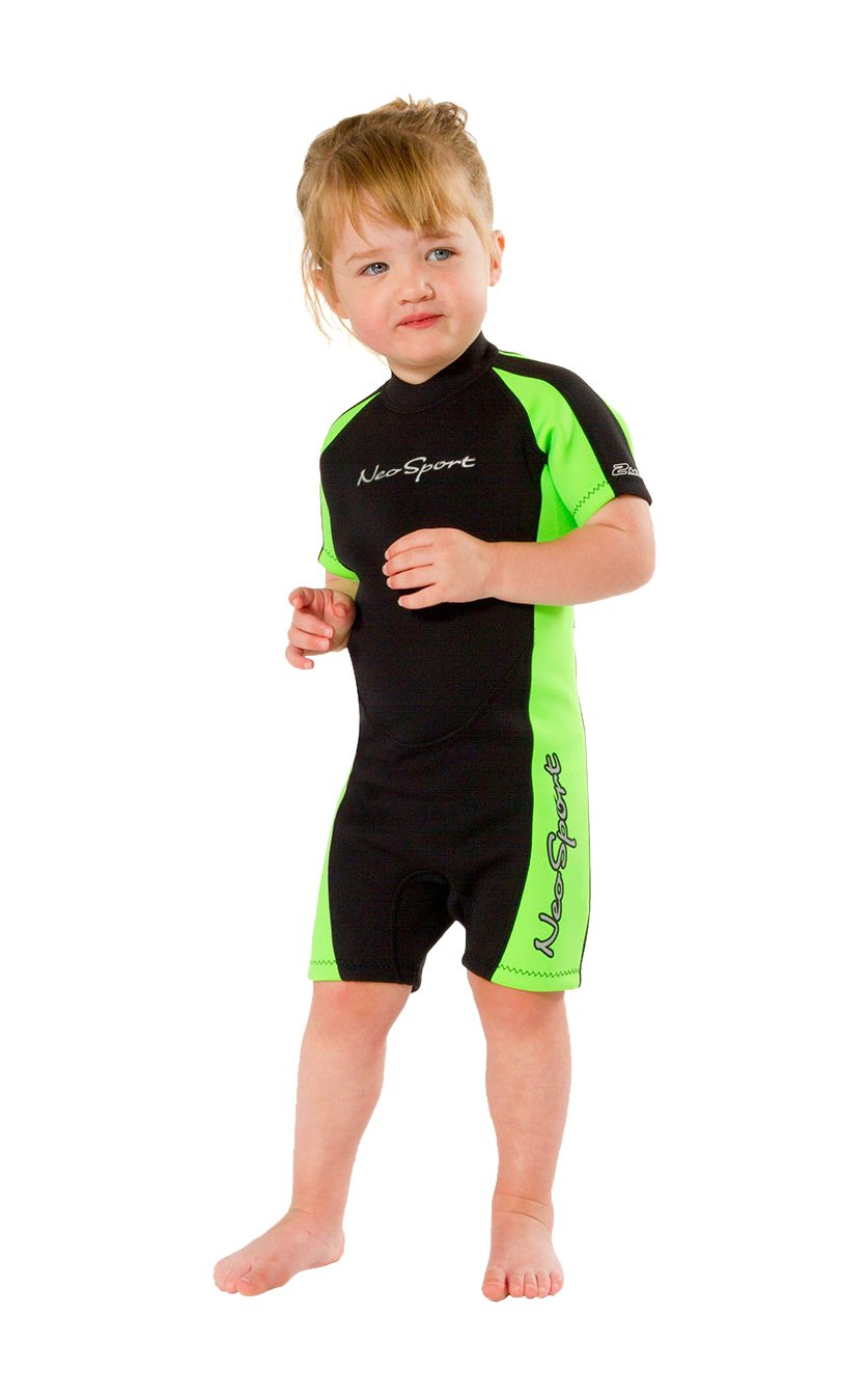 NeoSport Wetsuits Children's Premium Neoprene 2mm Shorty Wetsuit, Black/Lime, Size Six by Neo-Sport