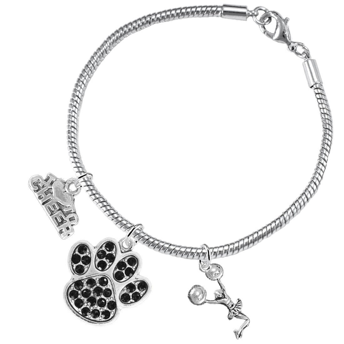 Nickel Lead and Cadmium Free Black Paw Crystal Cheer 3 Charm Bracelet Safe-Hypoallergenic