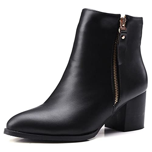 58dcd14f43523 Smilice Women Large Size & Small Size Ankle Boots Pointed Toe Block Heel  Zipper Booties (