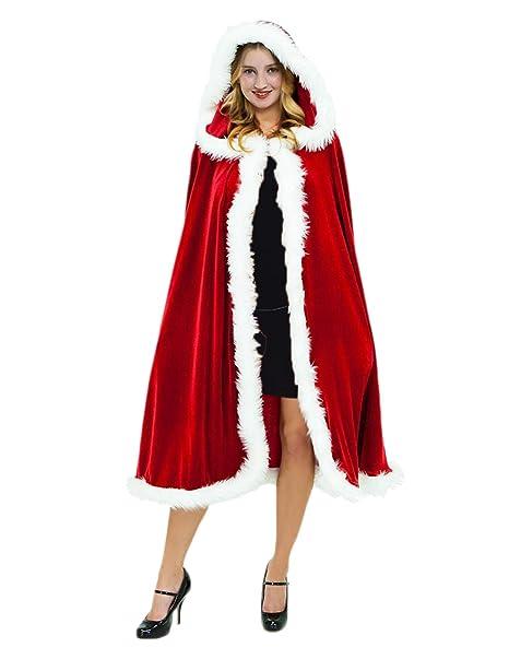 81811526d3 Quesera Women s Christmas Cloak Deluxe Velvet Mrs Santa Hooded Cape Costume