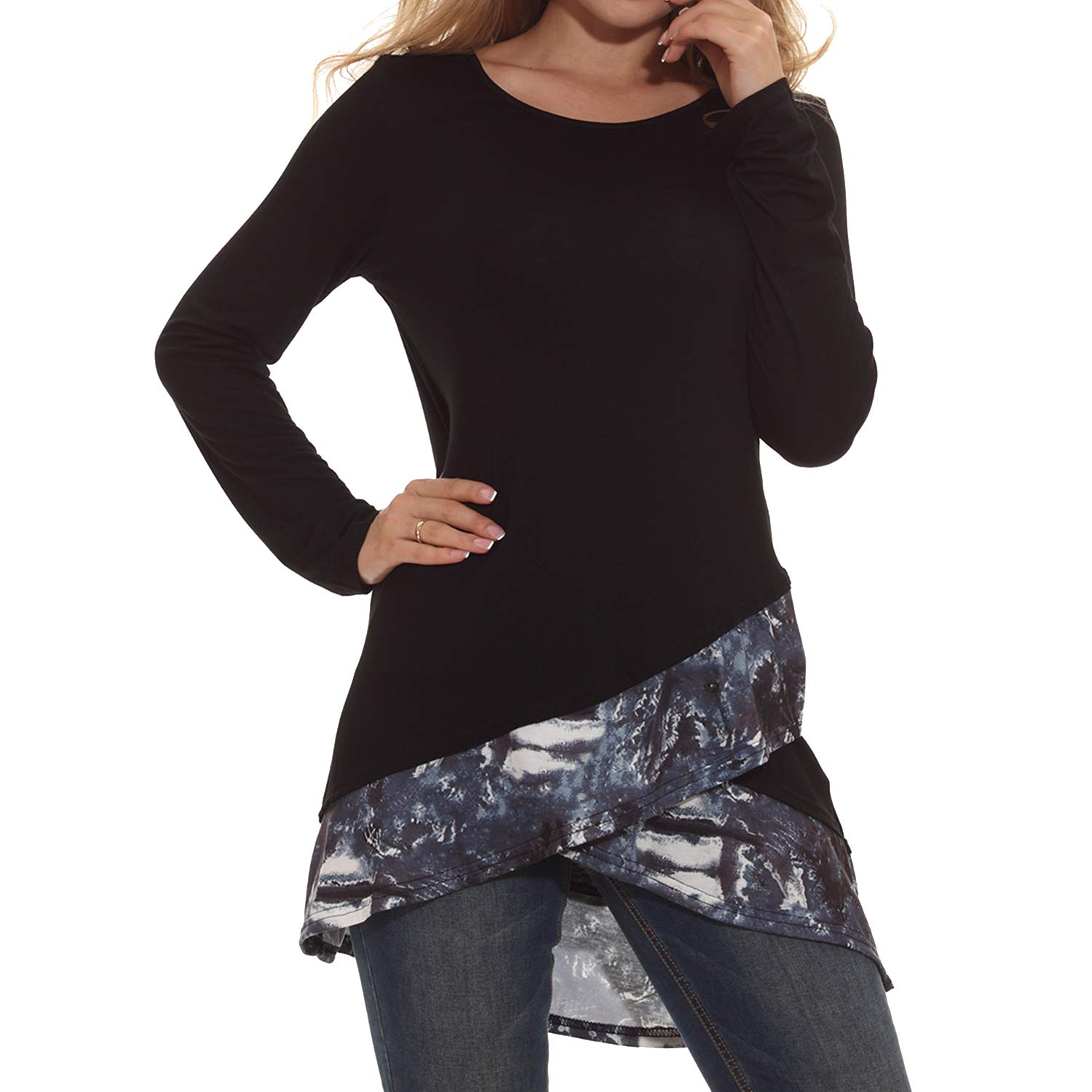 Black Sufiya Womens Long Sleeve Dressy Tunic Tops Scoop Neck Casual Layered Shirts