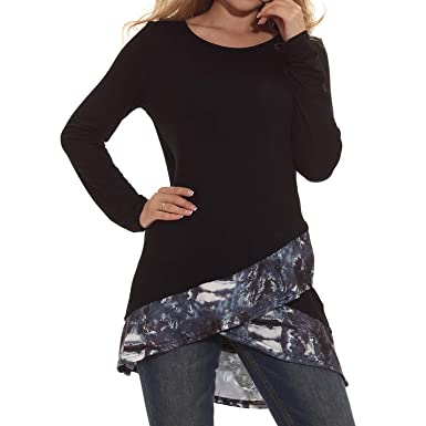 aabab0a1b75 Sufiya Women Tunic Tops Crew Neck Patchwork Tunic Layered Casual Tunic Tops  Black Medium
