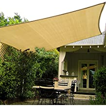 Shade&Beyond 10' x 10' Sand Color Sun Shade Sail, UV Block for Outdoor Facility and Activities