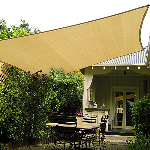 Shade&Beyond 10' x 10' Sand Color Sun Shade Sail, UV Block for Outdoor Facility and Activities (Square Sunshade Sail)