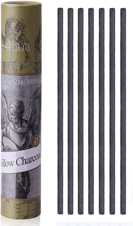 Approx 7-9mm Dia MyArTool Artist Willow Charcoal Sticks for Sketching and Drawing 25 Sticks