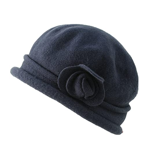 a8fb917eac6694 Parkhurst Spencer Wool Cloche (Navy) at Amazon Women's Clothing store: