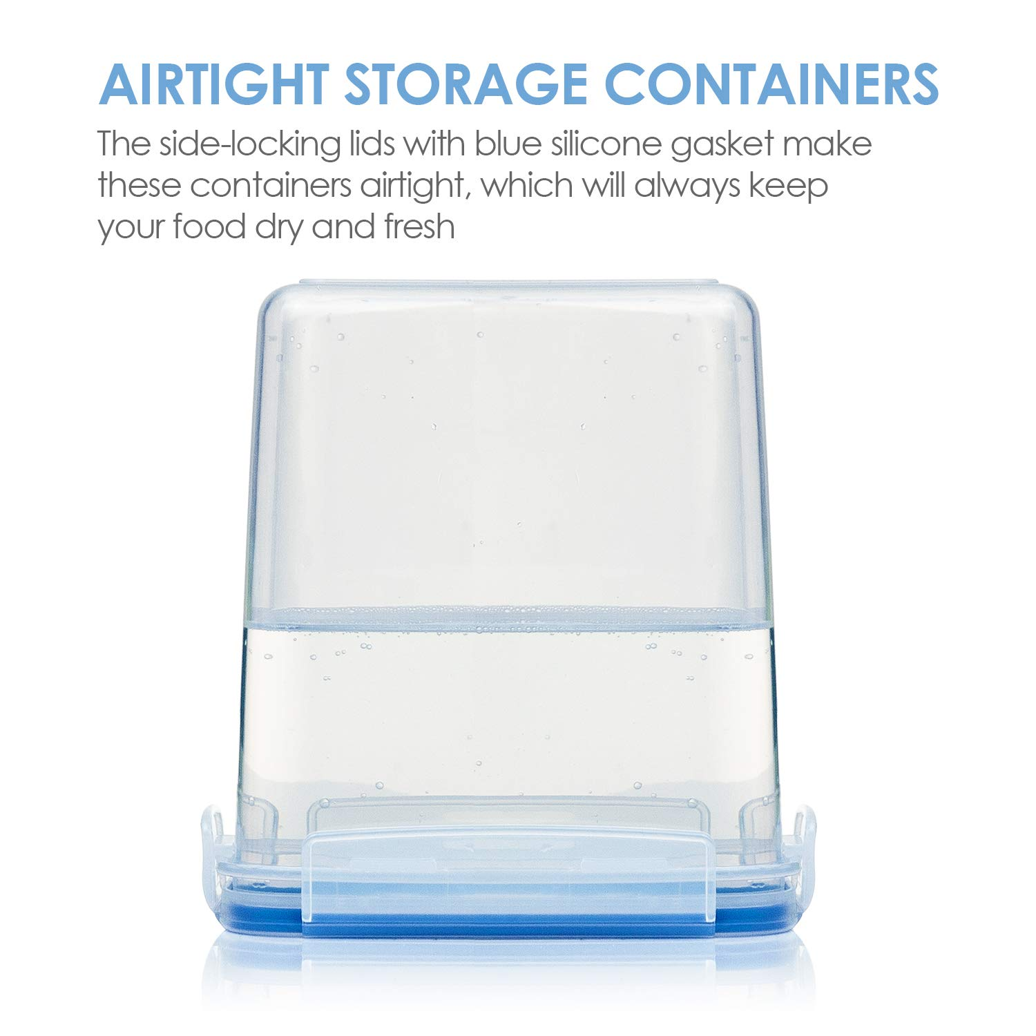 Vtopmart Airtight Food Storage Containers 12 Pieces - Plastic PBA Free Kitchen Pantry Storage Containers for Sugar,Flour and Baking Supplies - Dishwasher Safe - 24 Chalkboard Labels and 1 Marker by Vtopmart (Image #3)