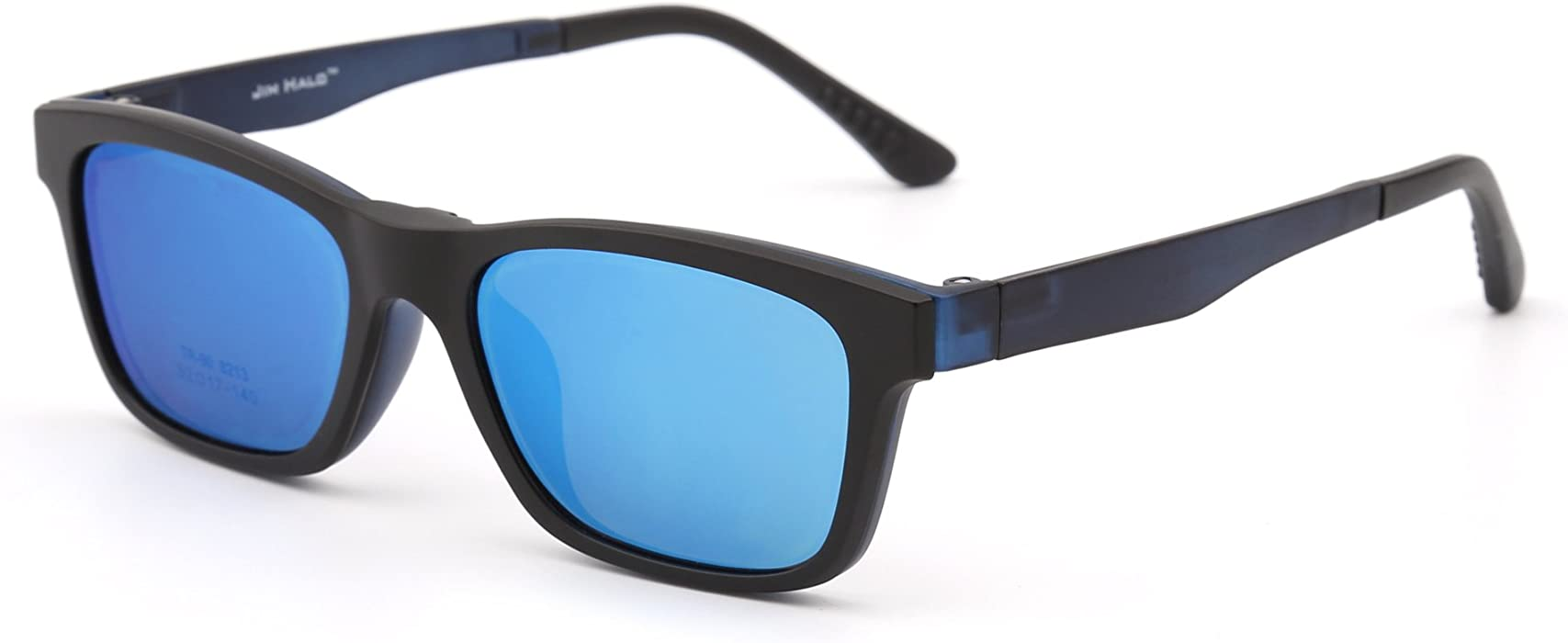 c36db9737d4 Retro Polarized Magnetic Sunglasses Clip on TR Eyeglasses Frame Men Women  (Matte Black Mirror Blue)  Amazon.co.uk  Clothing