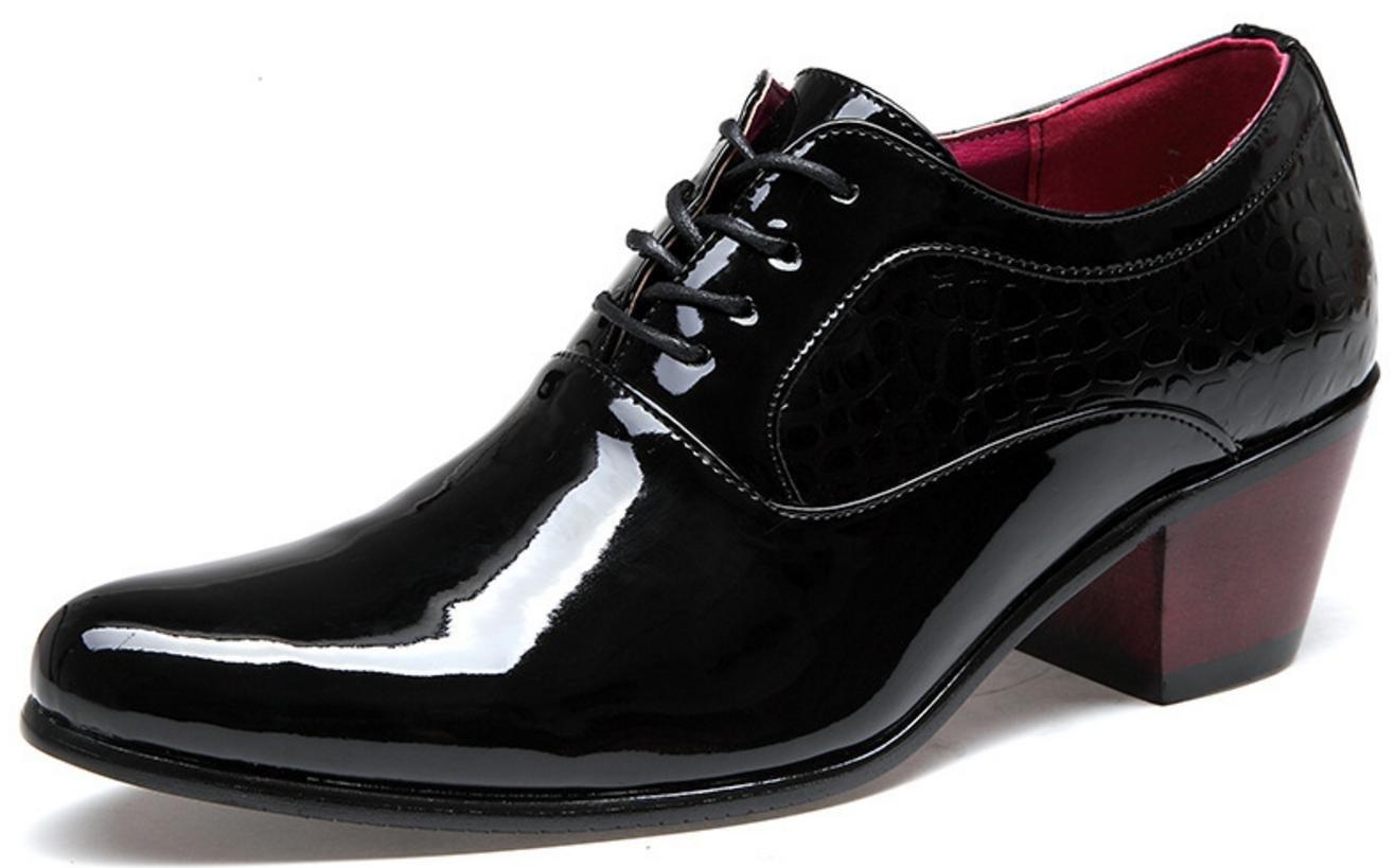 Blackpatent XWZG Men'S Business Dress shoes High Heels Patent Leather Lace Bridal shoes