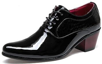 7303ec1b3dfc24 MLFMHR Zapatos de vestir de negocios para hombres Zapatos de novia de  encaje de charol con tacones altos , 67-3 black patent , 38: Amazon.es:  Deportes y ...