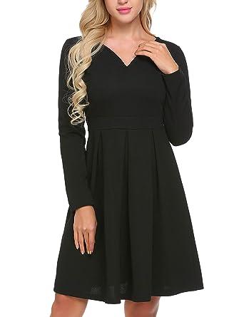 8f77912e37f Zeagoo Women s Long Sleeve Vintage Pleated Flare V Neck A-Line Dress ...