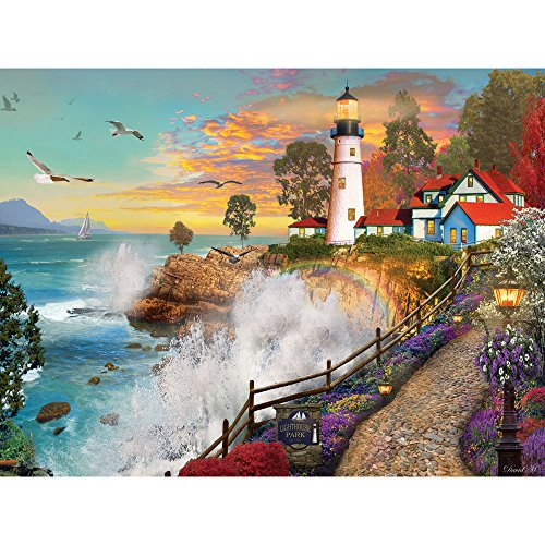 Bits and Pieces - 500 Piece Jigsaw Puzzle for Adults - Lighthouse Park - 500 pc Sunset by The Ocean Jigsaw by Artist David Maclean (Piece Five Hundred)