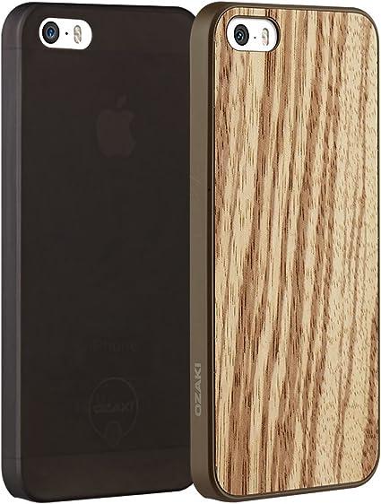 Ozaki O!Coat 0.3 Jelly & Wood Lot de 2 Coques de Protection 2 en 1 pour Apple iPhone Se (2016) / 5S / 5 avec placage en Bois Coque Noire Épaisseur ...