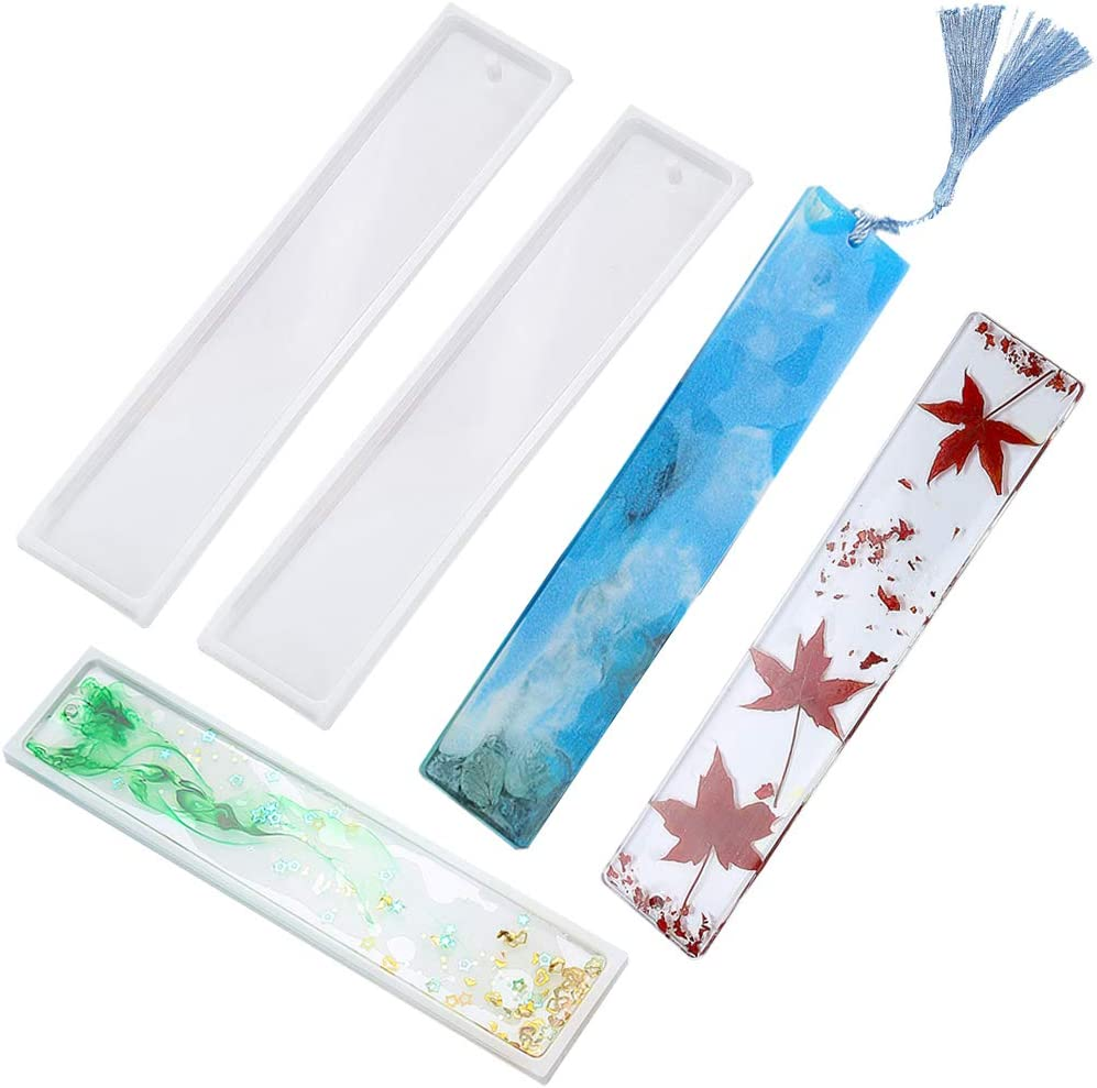 Transparent Epoxy Resin Jewelry DIY Craft 4 Pack DIY Bookmark Resin Mould Making Rectangle Silicone Mold