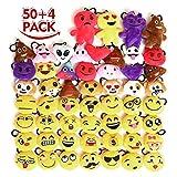 KINGSO 54 Pack 2.5'' Mini Emoji Plush Pillow Emoticon Keychain Decoration Kids Party Supplies Favors