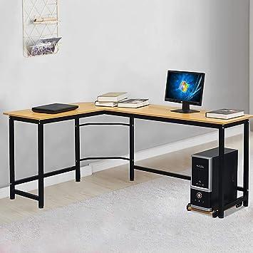 SSLine Escritorio de esquina grande para el hogar, mesa de trabajo ...