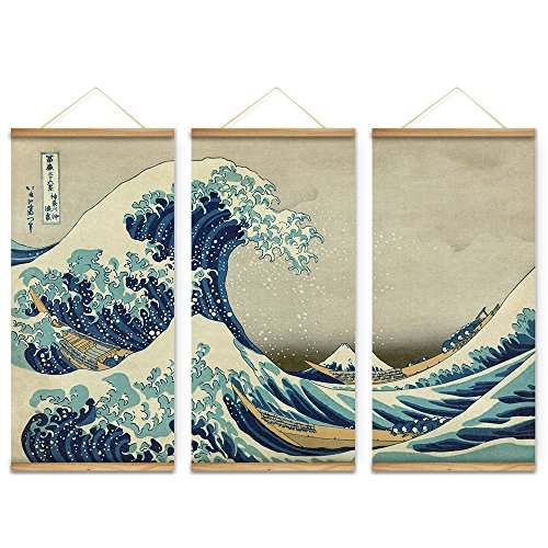 ARTGOW 3PCS Japan Style The great wave off Kanagawa Decorati