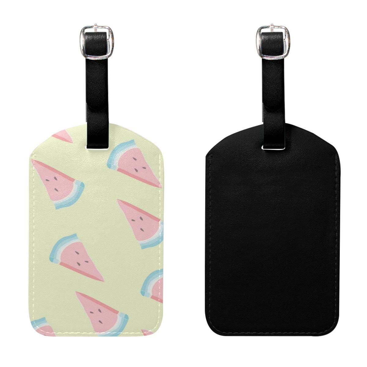 PU Leather Travel Luggage Tags Bone Luggage Tag Label Bags Case 2 Set