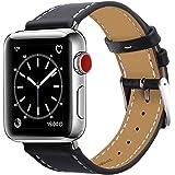 BRG コンパチブル apple watch バンド,本革 ビジネススタイル アップルウォッチバンド アップルウォッチ4 apple watch series4/3/2/1 レザー製(42mm/44mm,ブラック)