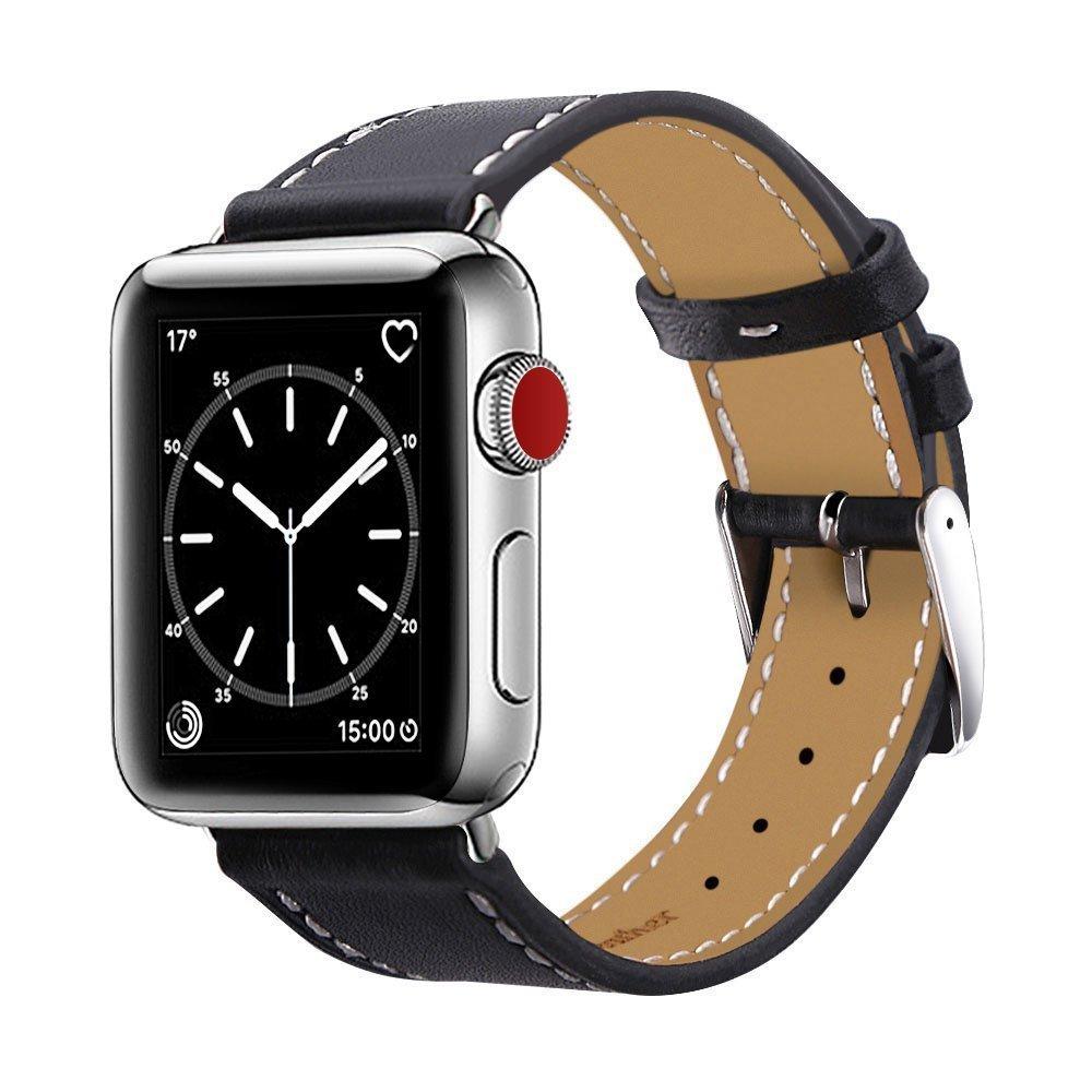 Apple watch band アップルの時計バンドの38 mmの42 mmの本物の革の交換バンドアップルウォッチシリーズの3シリーズ2シリーズ1ナイキエルメスの版のための古典的な金属アダプタの留め金単ツアーで (38mm, Black) B078MWMM55 38mm|Black Black 38mm