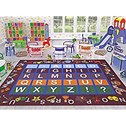 "Ottomanson Jenny Collection Dark Red Frame with Multi Colors Kids Children's Educational Alphabet (Non-Slip) Area Rug, 3'3"" X 5'0"", Red"