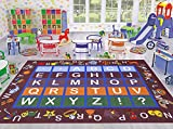 Ottomanson Jenny Collection Dark Red Frame with Multi Colors Kids Children's Educational Alphabet (Non-Slip) Area Rug, 8'2 X 9'10, Red