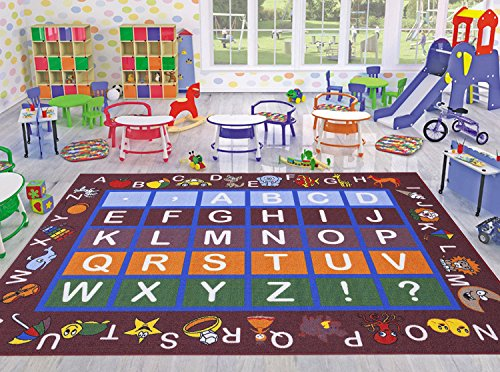 Ottomanson Jenny Collection Dark Red Frame with Multi Colors Kids Children's Educational Alphabet (Non-Slip) Area Rug, 5'0 X 6'6, Red