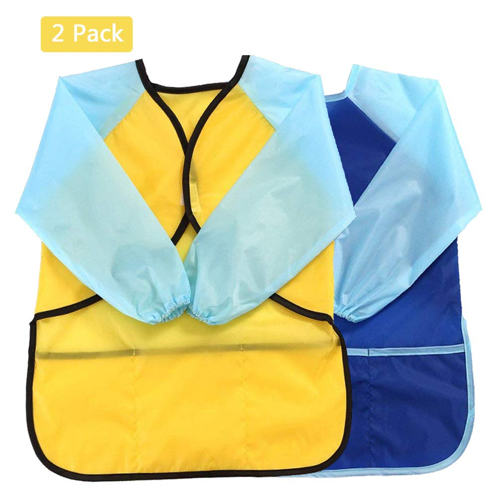 Pro-Noke Kids Art Aprons Children Waterproof Aprons Artist Aprons with Long Sleeve, Long Section Apron for Toddler 3-8 Years (Paints and Brushes not included)-pink+blue+yellow