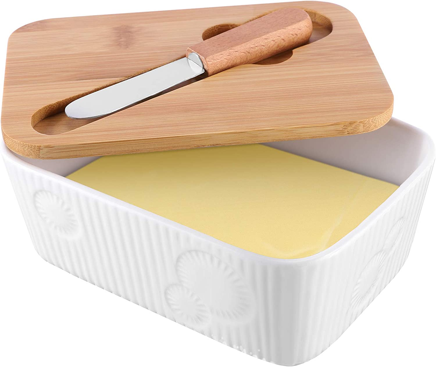 Butter Dish with Covers, Butter Container with Knife, Porcelain Butter Keeper, Airtight Butter Container with Lid & Steel Knife, Butter Holder to Keep Your Butter Fresh, Holds 2 Butter Sticks (White)