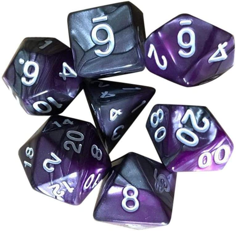 7Pcs//Set Acrylic Polyhedral Dices Set igital Dices Game Dices