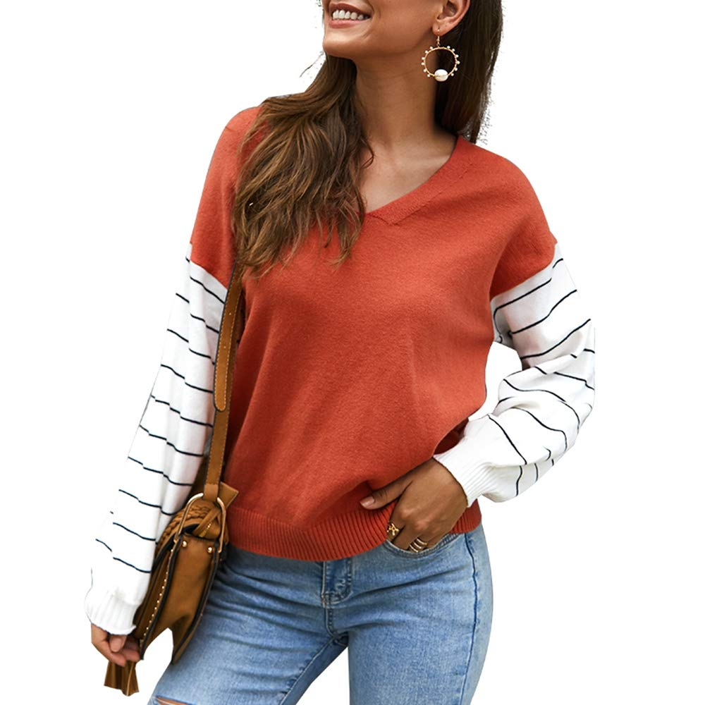 Women's Casual Knit Sweater,Long Sleeve Striped Patchwork Block Color V Neck Fitted Pullover Top Blouse Tunic Red by KINGLEN Womens Top