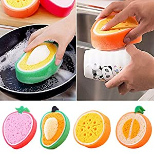 OLIVE US-Fruit Dish Washing Cleaning Cloth Sponge Scrubber Scouring Pad Kitchen Gadget(cantaloupe)