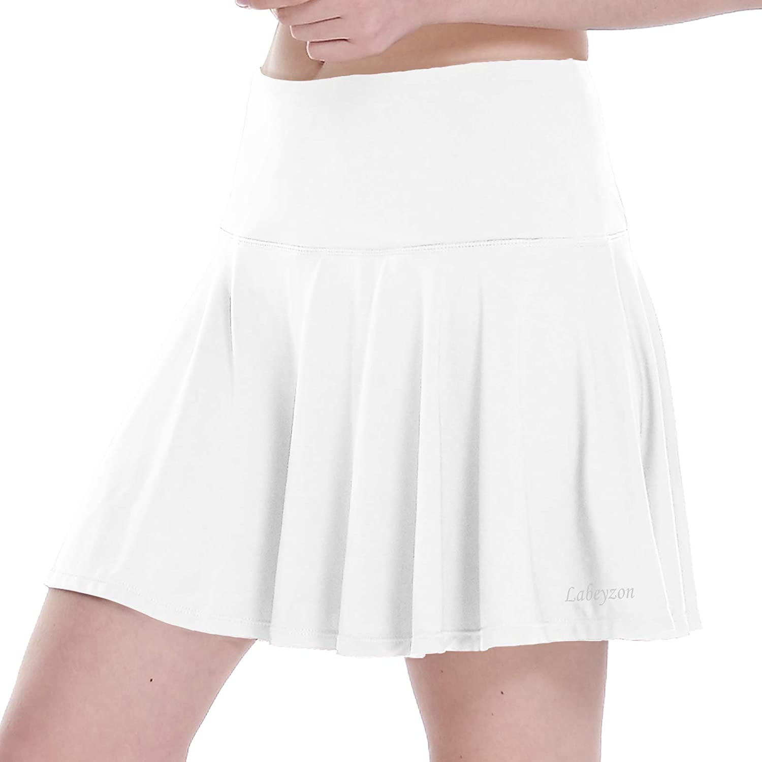 LABEYZON Women's Athletic Tennis Skirt Workout Active Golf Sport Running Pleated Skorts with Shorts Ball Pockets